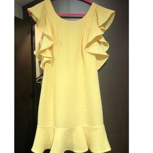 BCBG Yellow Ruffle Dress